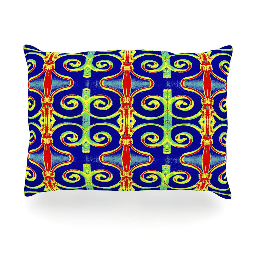 "Anne LaBrie ""Swirl Away"" Blue Red Oblong Pillow - KESS InHouse"
