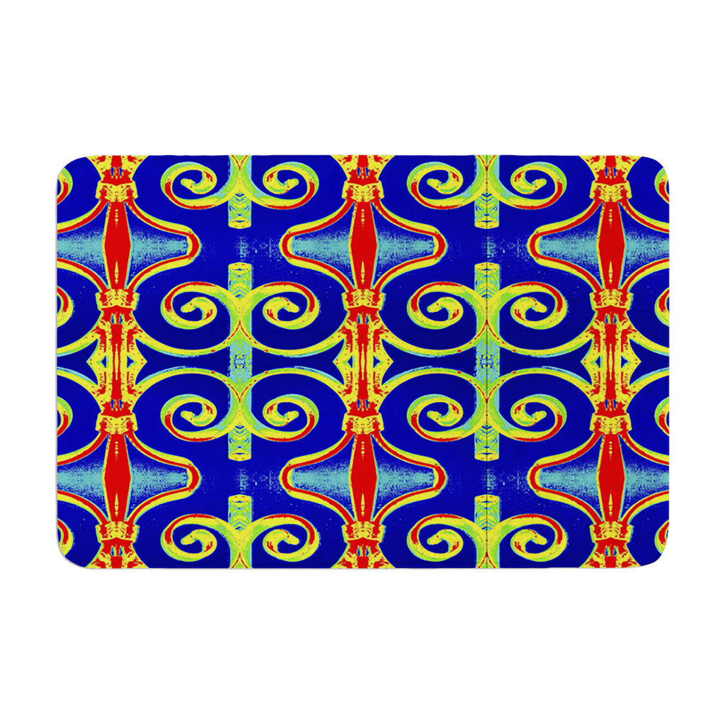 "Anne LaBrie ""Swirl Away"" Blue Red Memory Foam Bath Mat - KESS InHouse"
