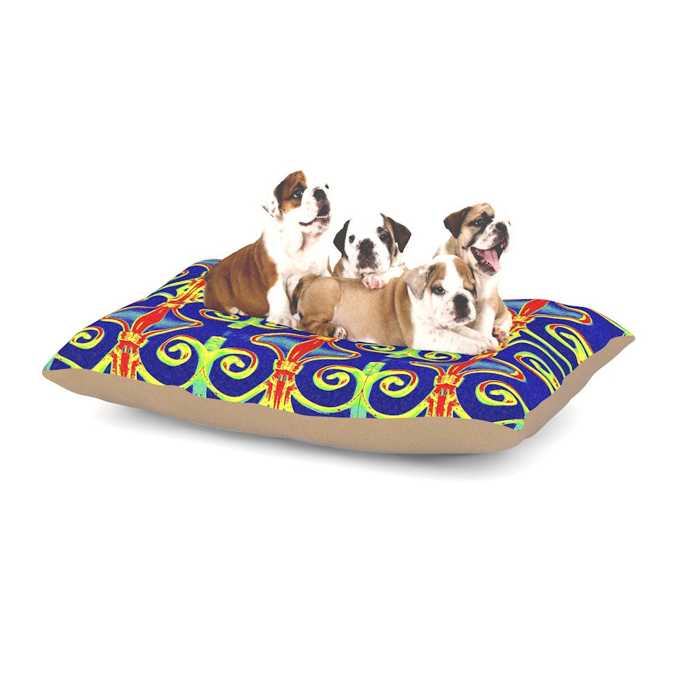 "Anne LaBrie ""Swirl Away"" Blue Red Dog Bed - KESS InHouse  - 1"