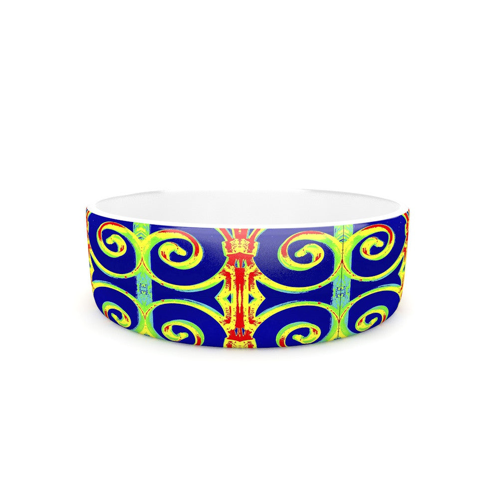 "Anne LaBrie ""Swirl Away"" Blue Red Pet Bowl - KESS InHouse"
