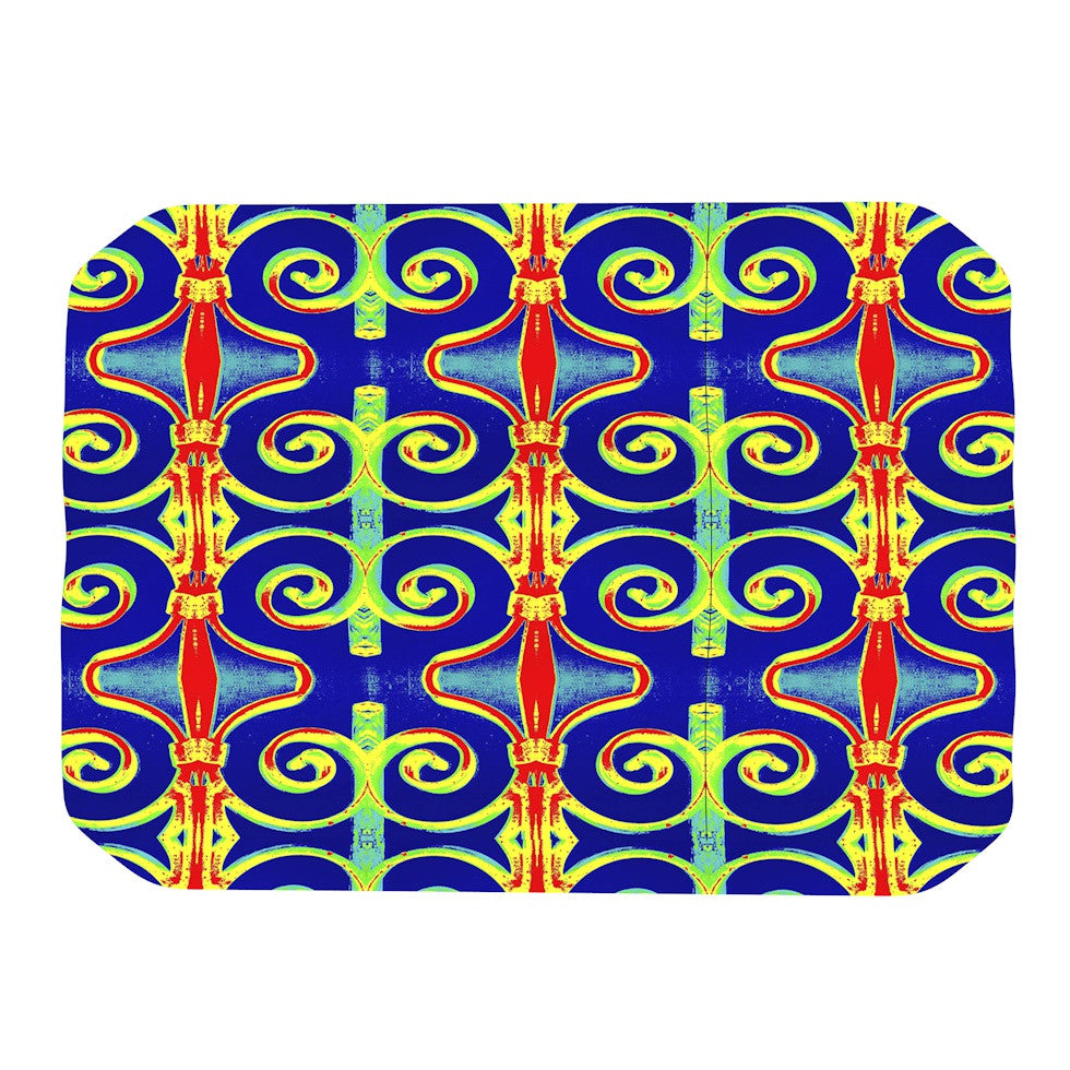 "Anne LaBrie ""Swirl Away"" Blue Red Place Mat - KESS InHouse"
