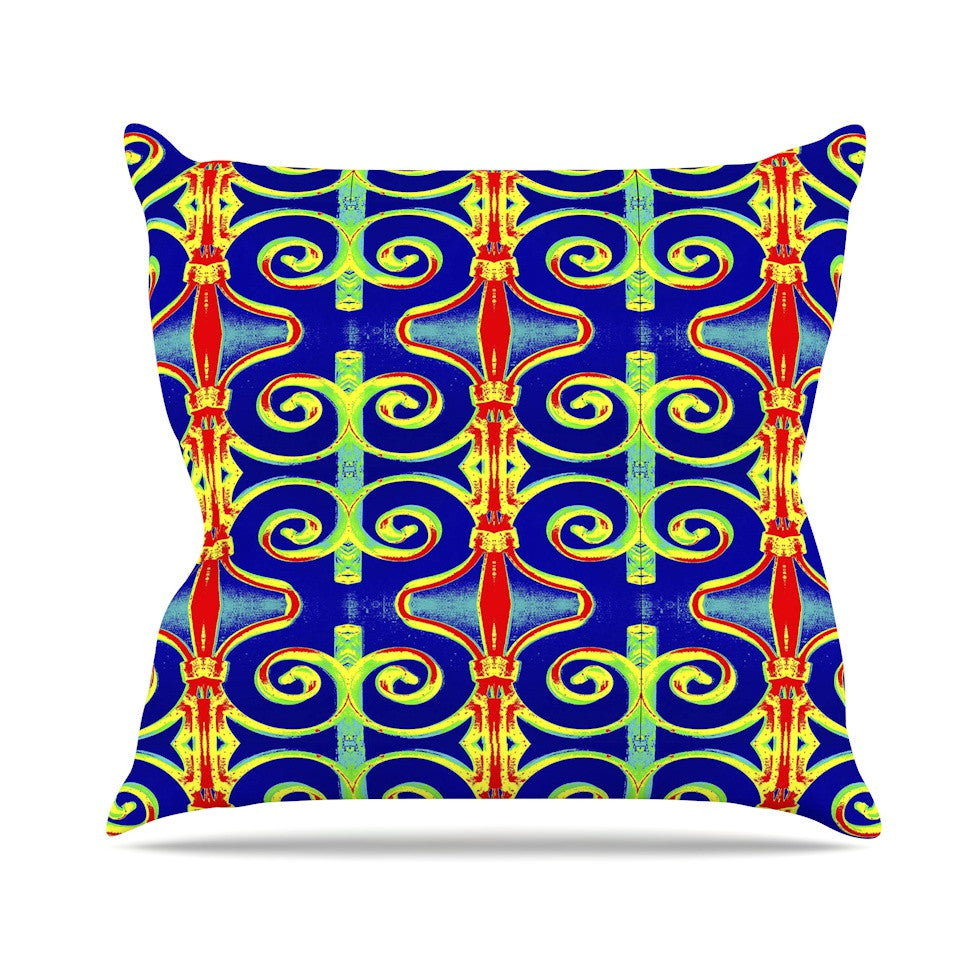 "Anne LaBrie ""Swirl Away"" Blue Red Outdoor Throw Pillow - KESS InHouse  - 1"