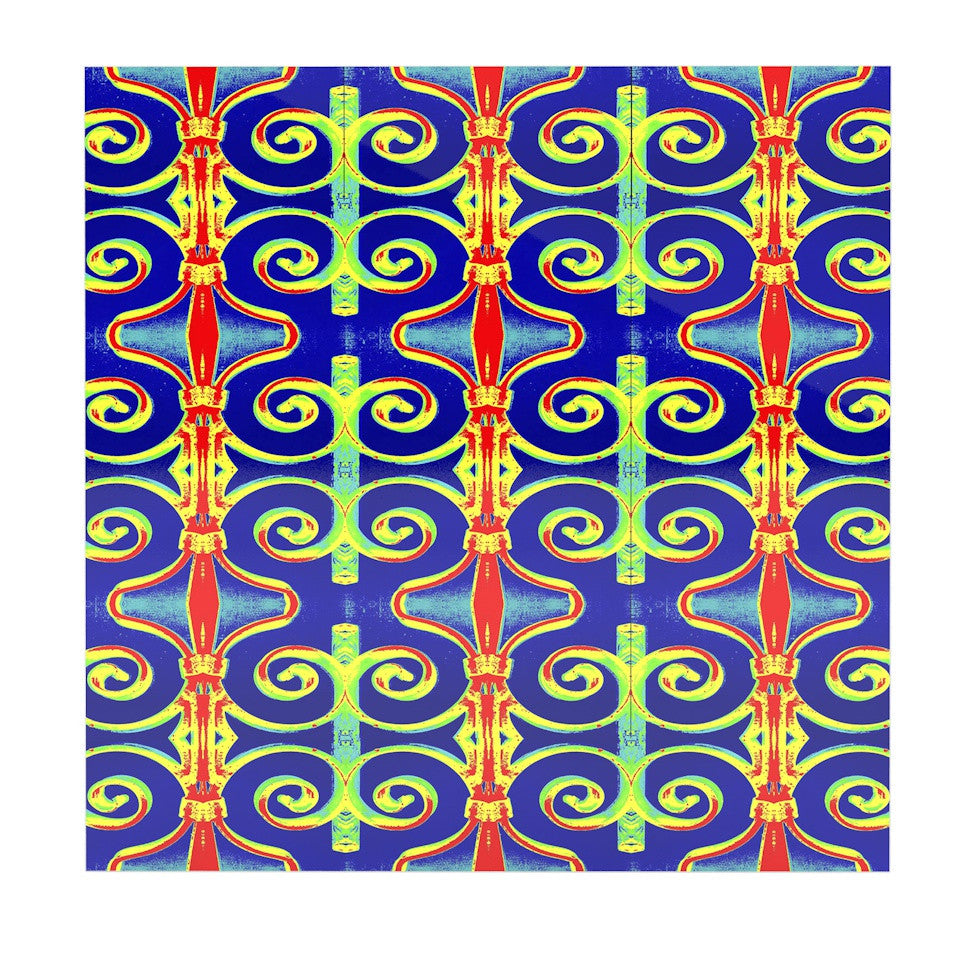 "Anne LaBrie ""Swirl Away"" Blue Red Luxe Square Panel - KESS InHouse  - 1"
