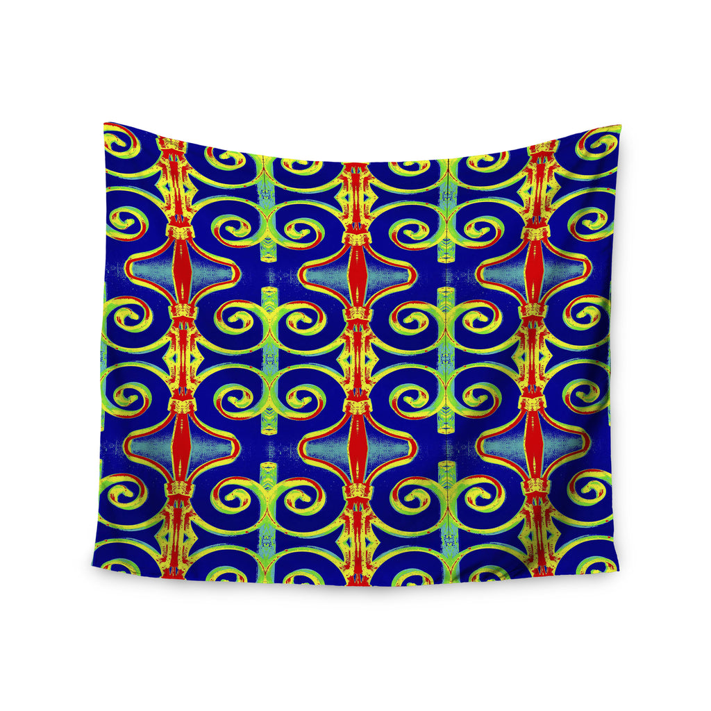 "Anne LaBrie ""Swirl Away"" Blue Red Wall Tapestry - KESS InHouse  - 1"
