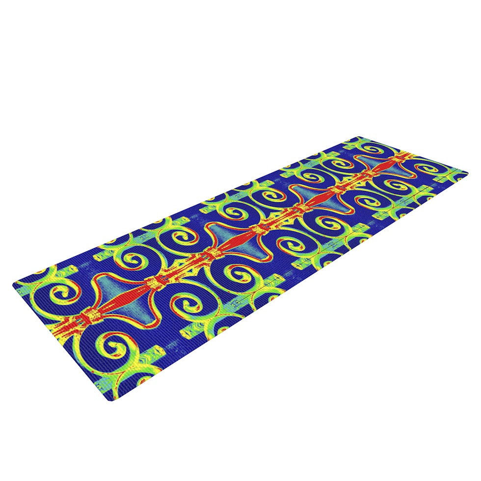 "Anne LaBrie ""Swirl Away"" Blue Red Yoga Mat - KESS InHouse  - 1"
