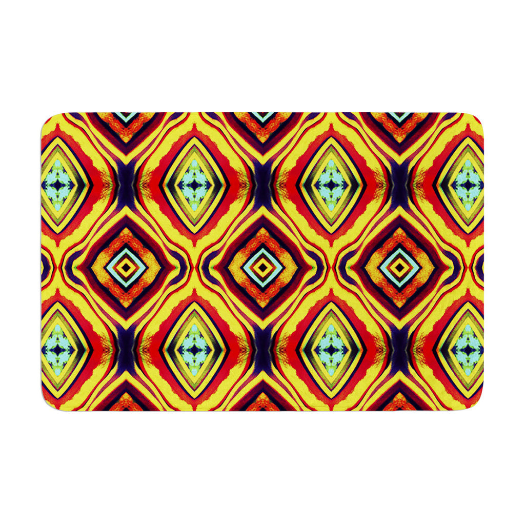 "Anne LaBrie ""Diamond Light"" Yellow Red Memory Foam Bath Mat - KESS InHouse"