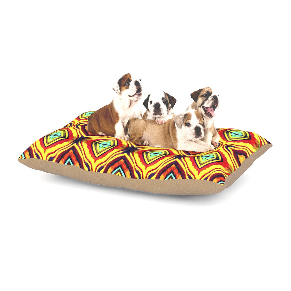 "Anne LaBrie ""Diamond Light"" Yellow Red Dog Bed - KESS InHouse  - 1"