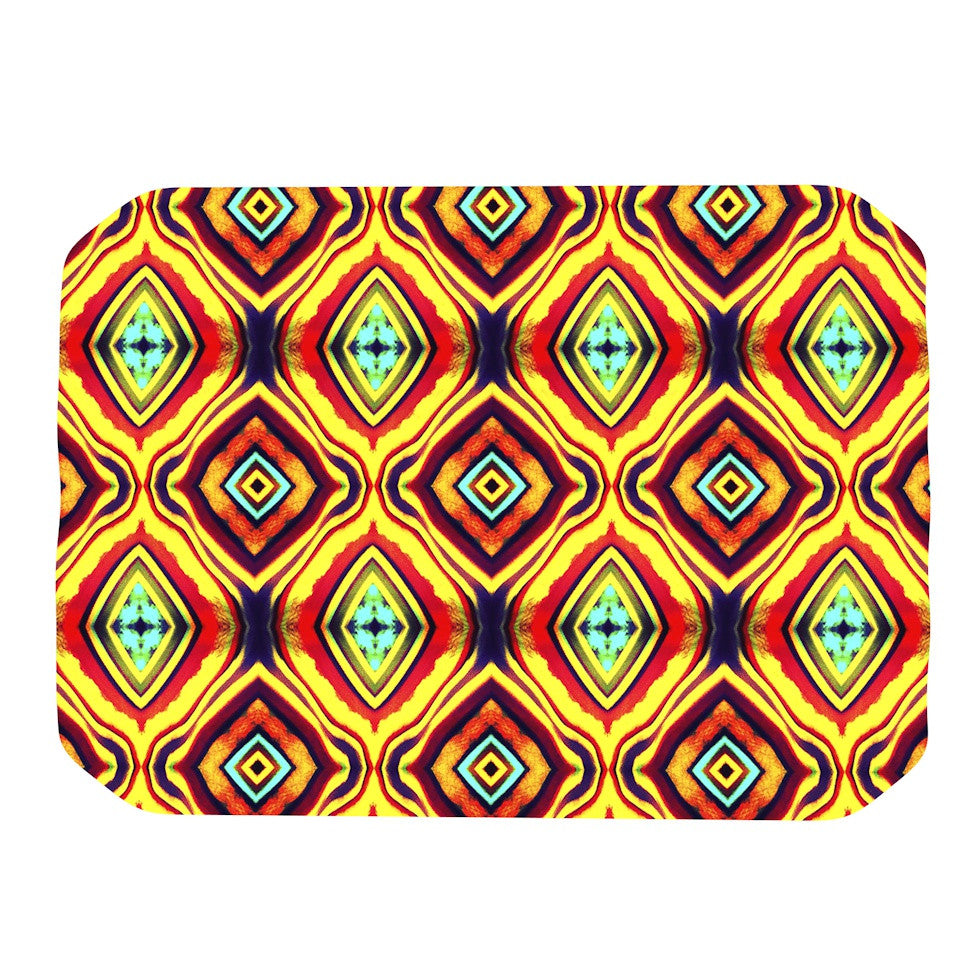 "Anne LaBrie ""Diamond Light"" Yellow Red Place Mat - KESS InHouse"