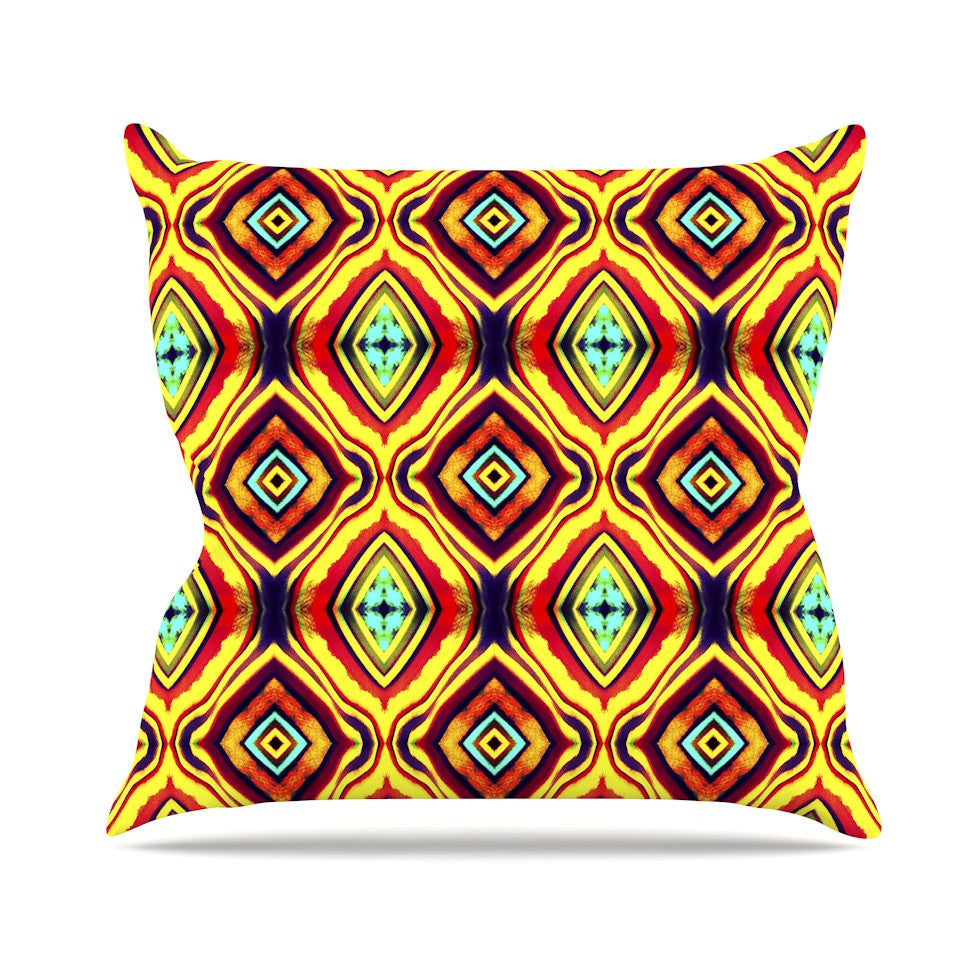 "Anne LaBrie ""Diamond Light"" Yellow Red Outdoor Throw Pillow - KESS InHouse  - 1"