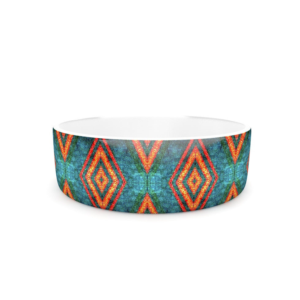 "Anne LaBrie ""Diamond Sea"" Blue Orange Pet Bowl - KESS InHouse"