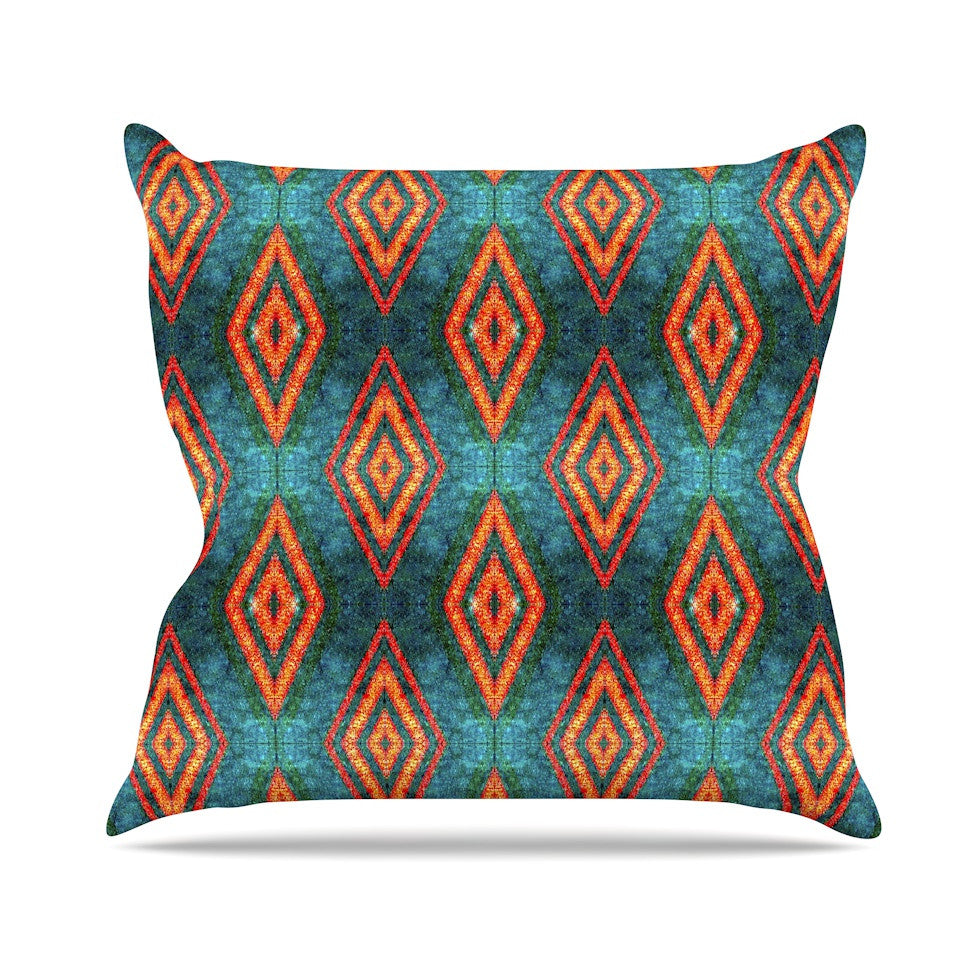 "Anne LaBrie ""Diamond Sea"" Blue Orange Outdoor Throw Pillow - KESS InHouse  - 1"