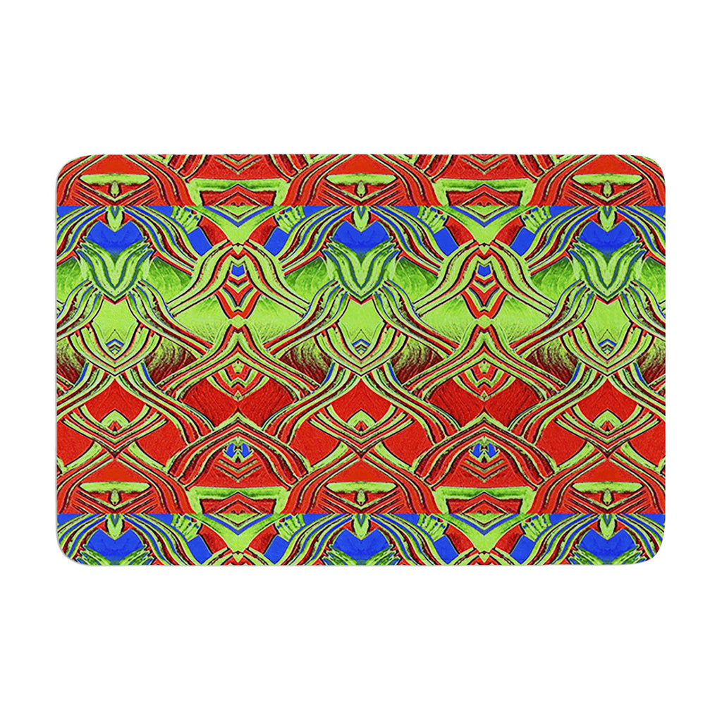 "Anne LaBrie ""Mystic Flow"" Green Red Memory Foam Bath Mat - KESS InHouse"