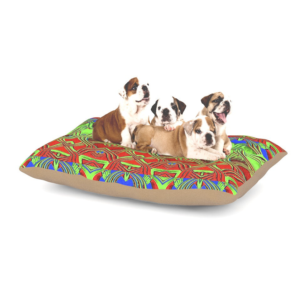 "Anne LaBrie ""Mystic Flow"" Green Red Dog Bed - KESS InHouse  - 1"