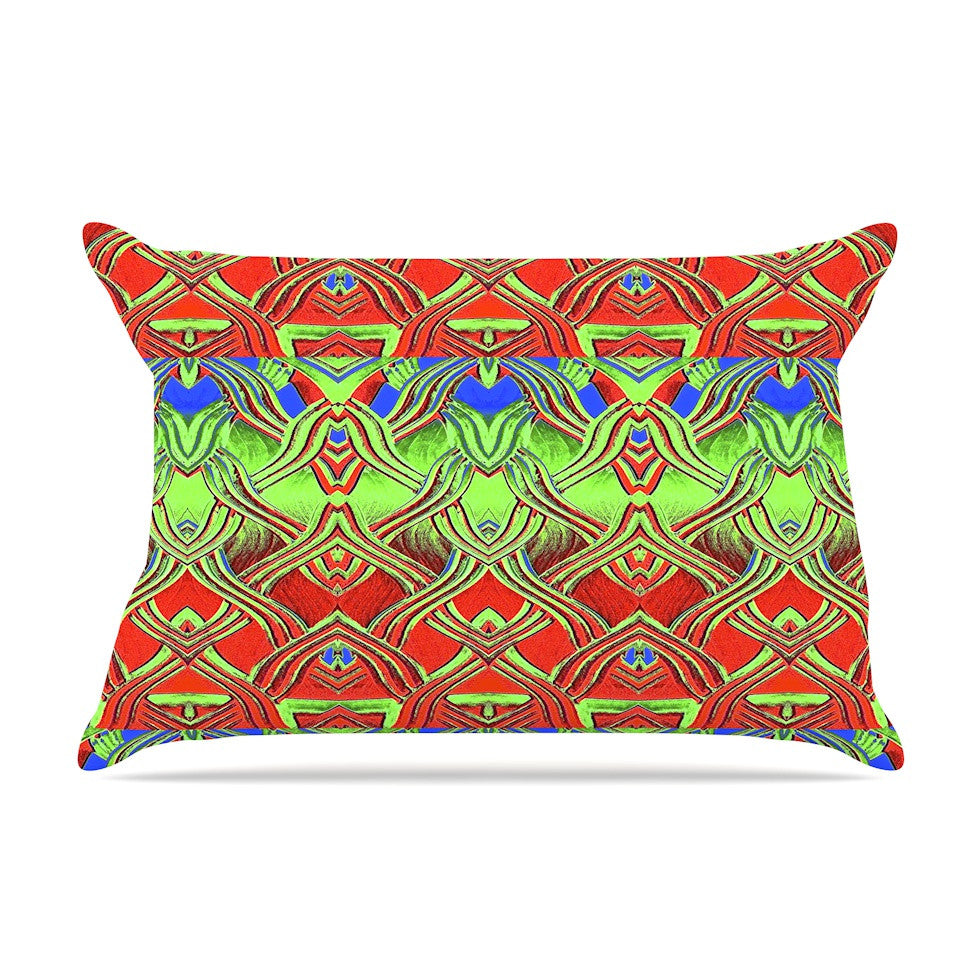 "Anne LaBrie ""Mystic Flow"" Green Red Pillow Sham - KESS InHouse  - 1"