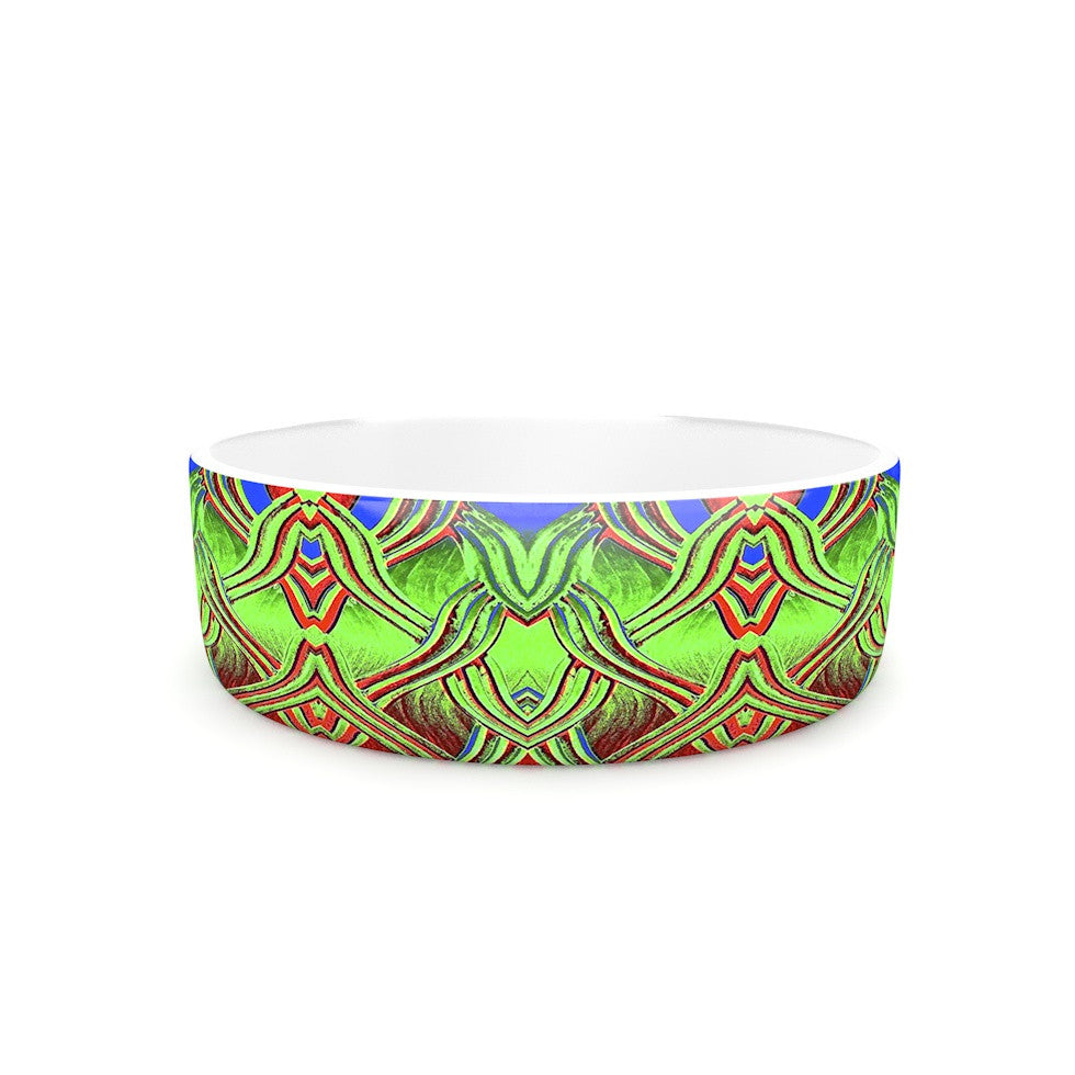 "Anne LaBrie ""Mystic Flow"" Green Red Pet Bowl - KESS InHouse"