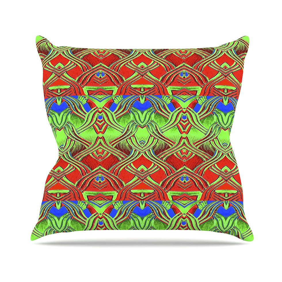 "Anne LaBrie ""Mystic Flow"" Green Red Outdoor Throw Pillow - KESS InHouse  - 1"