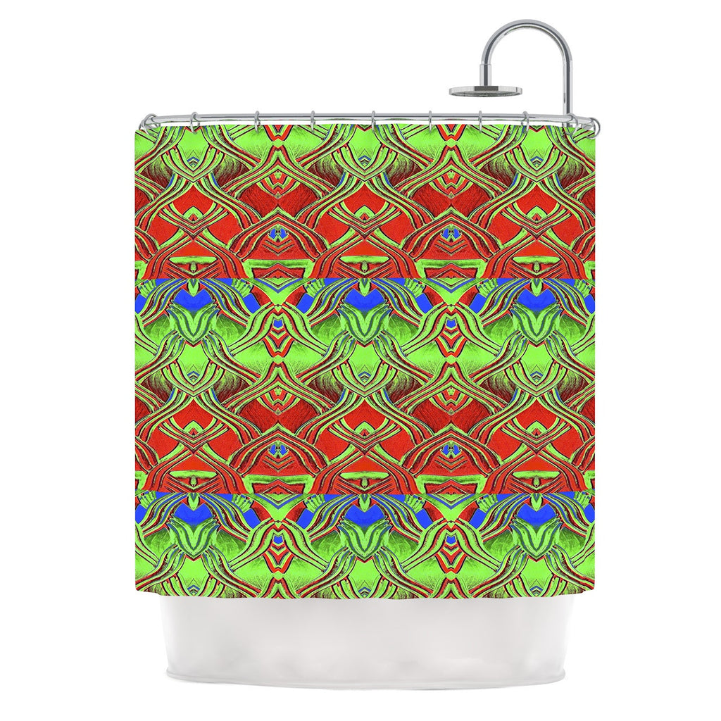 "Anne LaBrie ""Mystic Flow"" Green Red Shower Curtain - KESS InHouse"