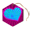 "Anne LaBrie ""Love Light"" Blue Modern Hexagon Holiday Ornament"