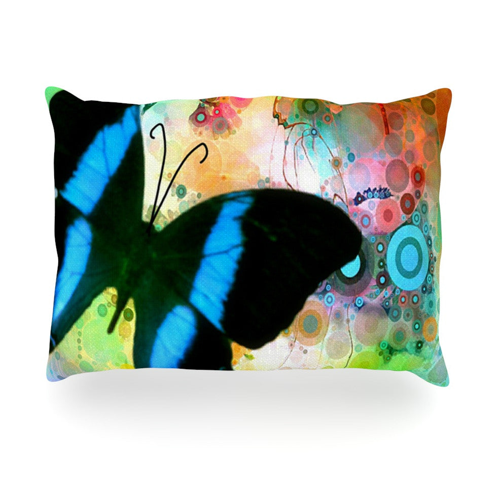 "alyZen Moonshadow ""Colorful Blue"" Multicolor Butterfly Oblong Pillow - KESS InHouse"