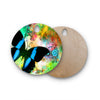 "alyZen Moonshadow ""Colorful Blue"" Multicolor Butterfly Round Wooden Cutting Board"