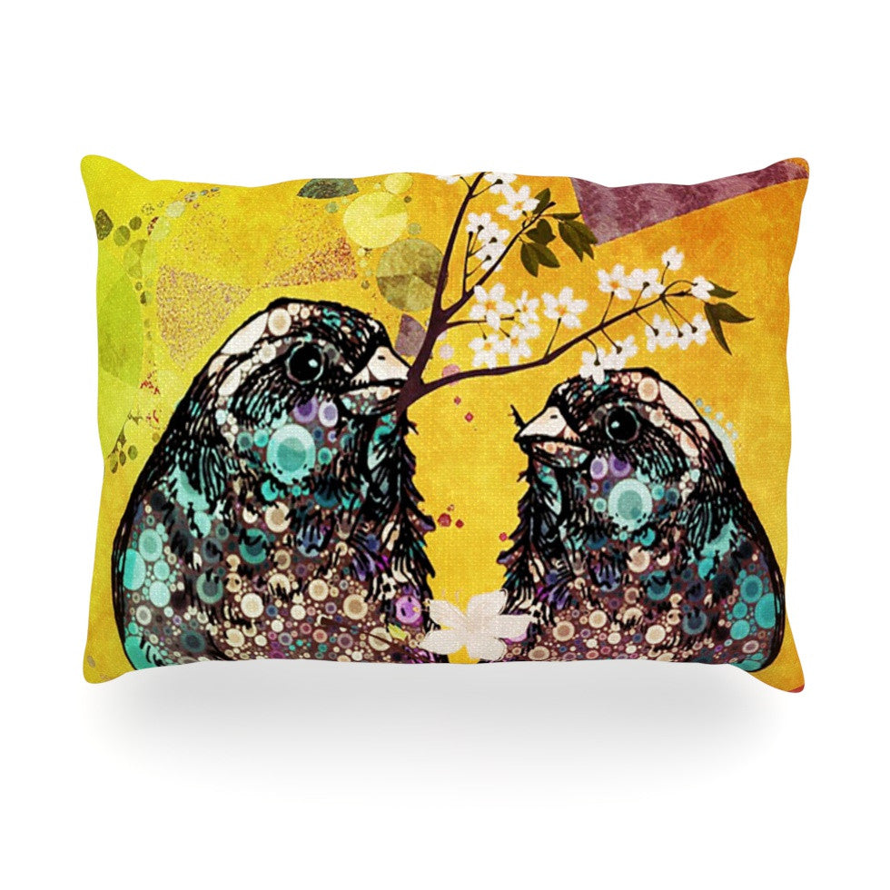 "alyZen Moonshadow ""Birds In Love Yellow"" Orange Gold Oblong Pillow - KESS InHouse"