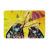 "alyZen Moonshadow ""Birds In Love Yellow"" Orange Gold Memory Foam Bath Mat - KESS InHouse"