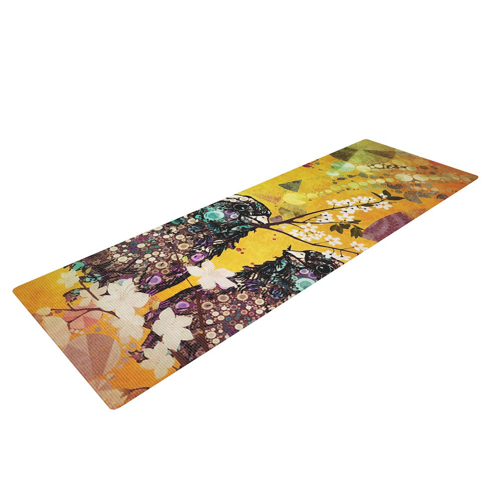 "alyZen Moonshadow ""Birds In Love Yellow"" Orange Gold Yoga Mat - KESS InHouse  - 1"
