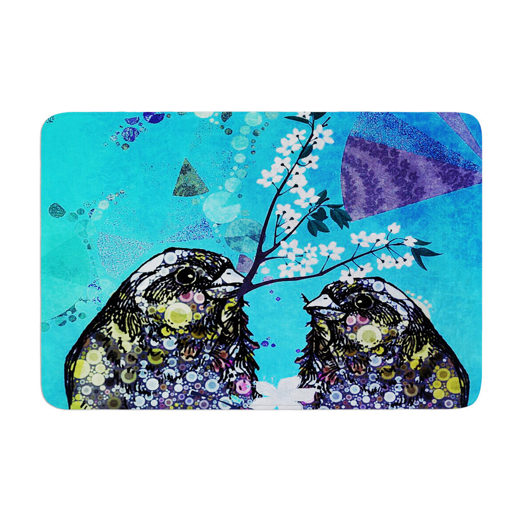 "alyZen Moonshadow ""Birds In Love Blue"" Navy Purple Memory Foam Bath Mat - KESS InHouse"