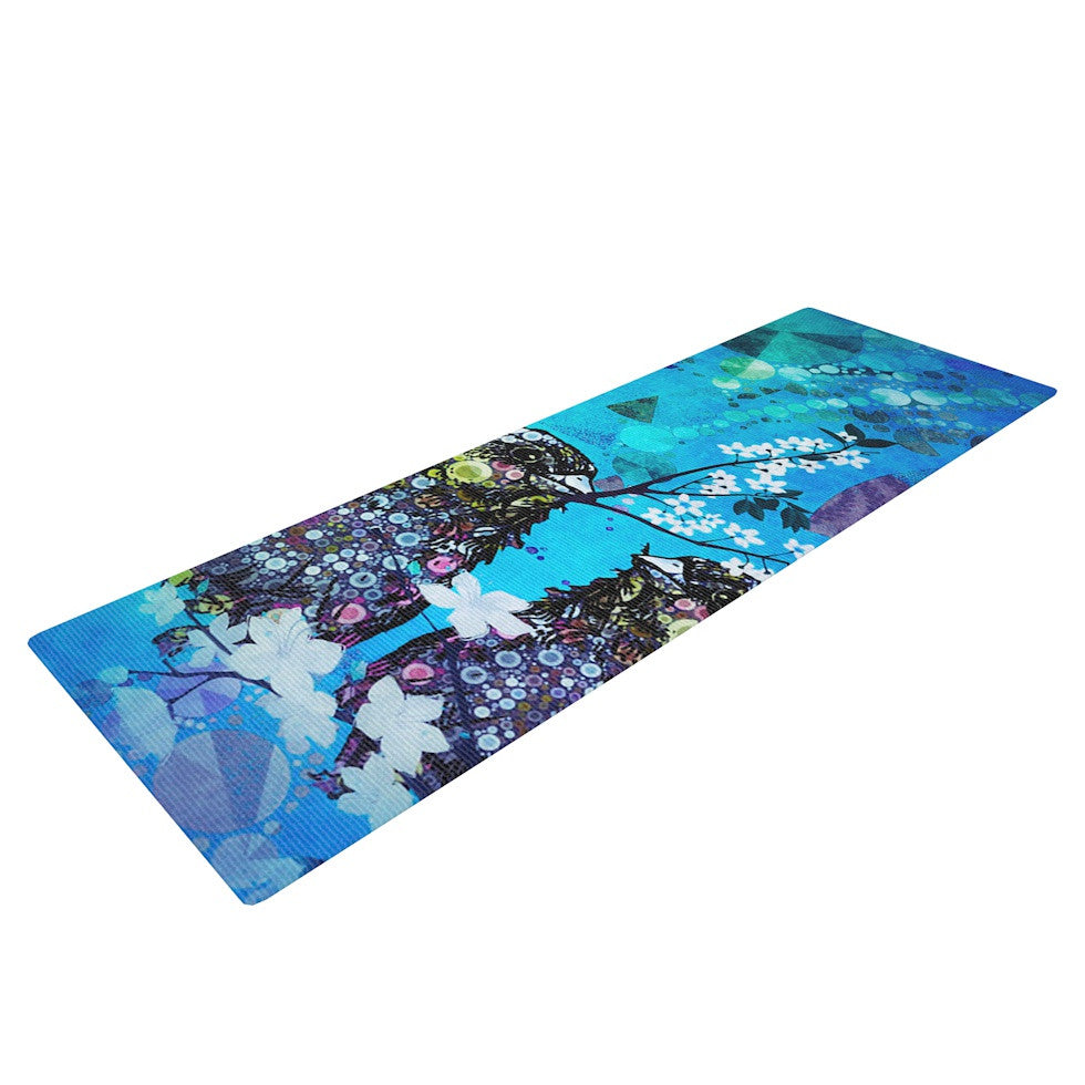 "alyZen Moonshadow ""Birds In Love Blue"" Navy Purple Yoga Mat - KESS InHouse  - 1"