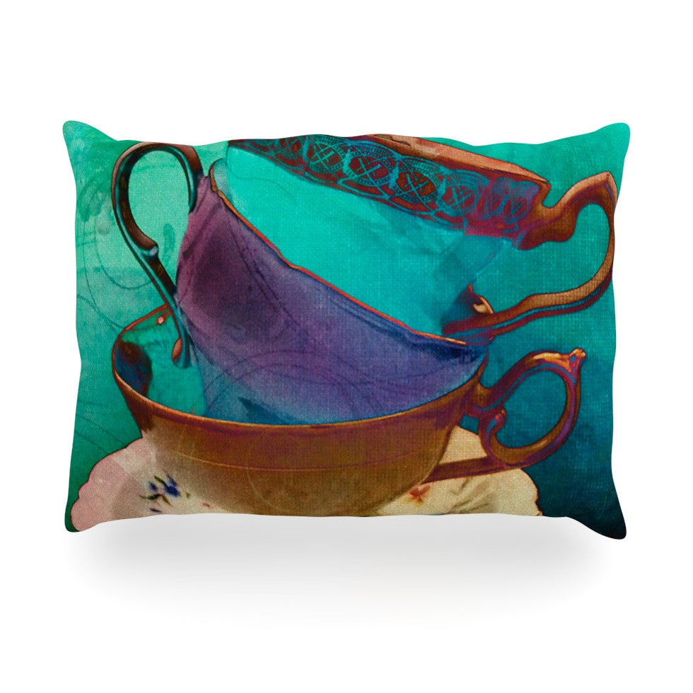 "alyZen Moonshadow ""Mad Hatters T-Party I"" Turquoise Oblong Pillow - KESS InHouse"