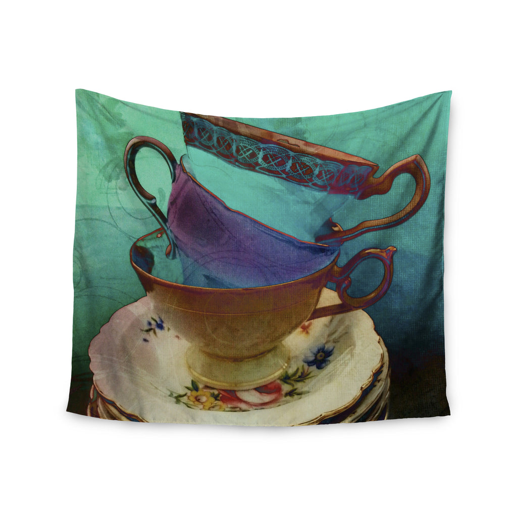 "alyZen Moonshadow ""Mad Hatters T-Party I"" Turquoise Wall Tapestry - KESS InHouse  - 1"