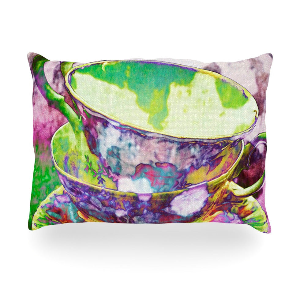 "alyZen Moonshadow ""Mad Hatters T-Party II"" Pink Green Oblong Pillow - KESS InHouse"