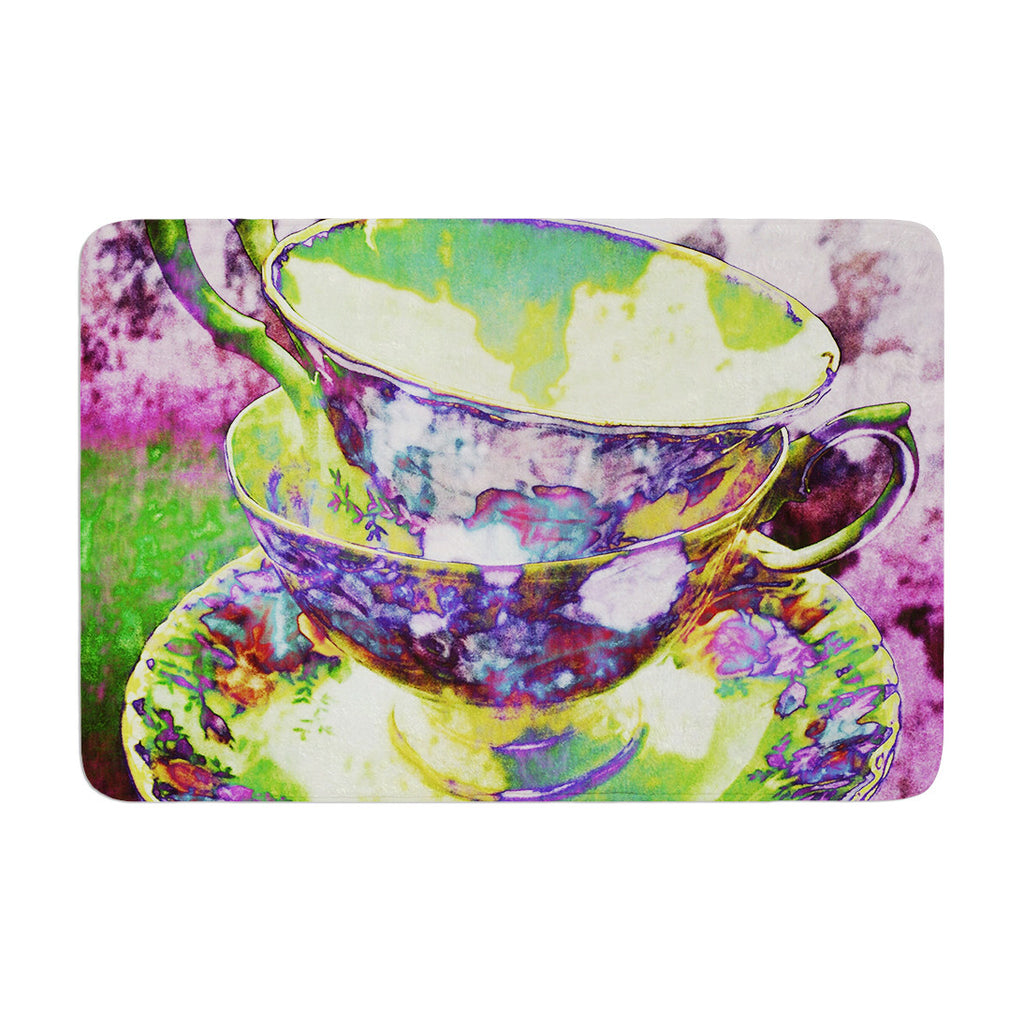 "alyZen Moonshadow ""Mad Hatters T-Party II"" Pink Green Memory Foam Bath Mat - KESS InHouse"