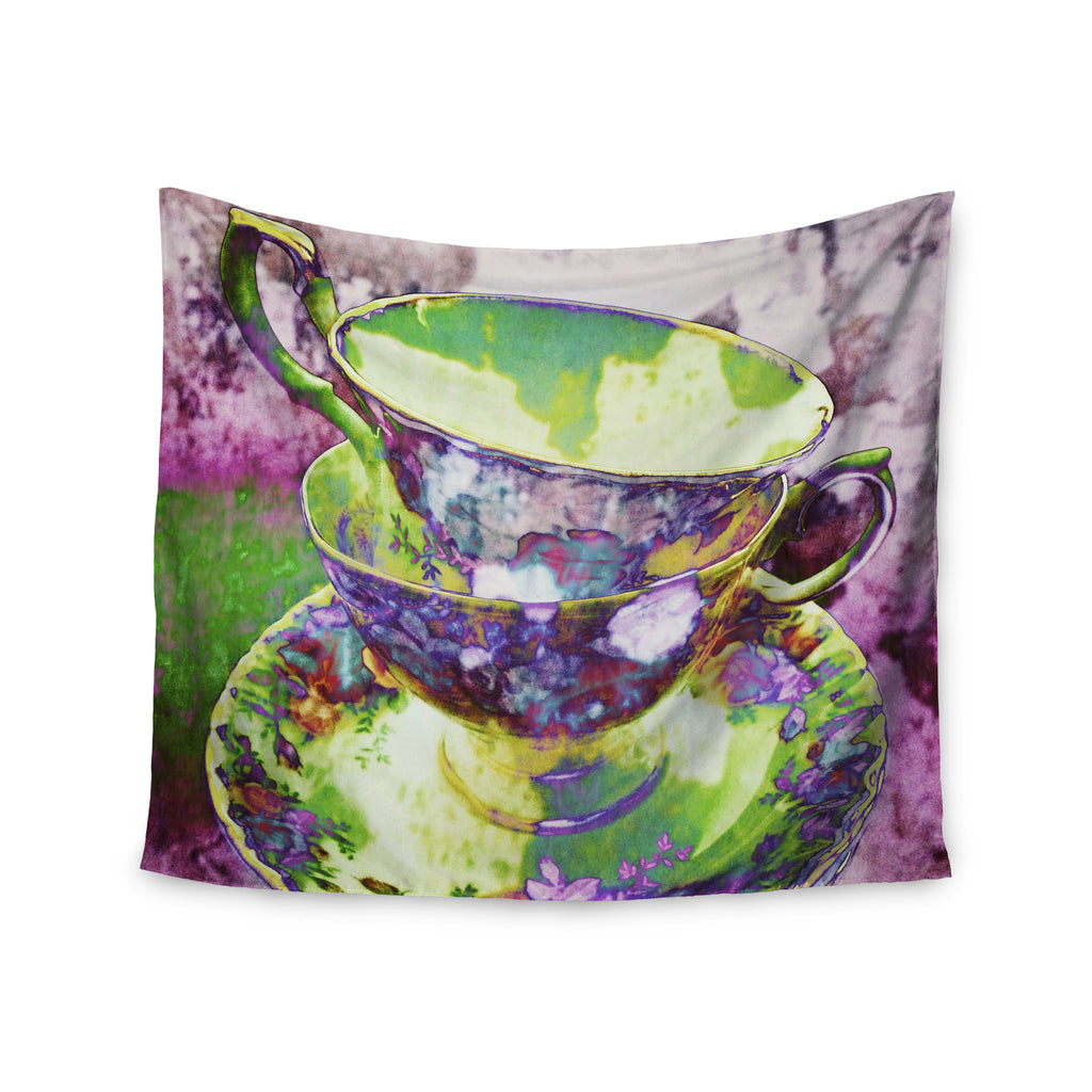 "alyZen Moonshadow ""Mad Hatters T-Party II"" Pink Green Wall Tapestry - KESS InHouse  - 1"