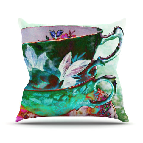 "alyZen Moonshadow ""Mad Hatters T-Party IV"" Green Pink Throw Pillow - Outlet Item - KESS InHouse"