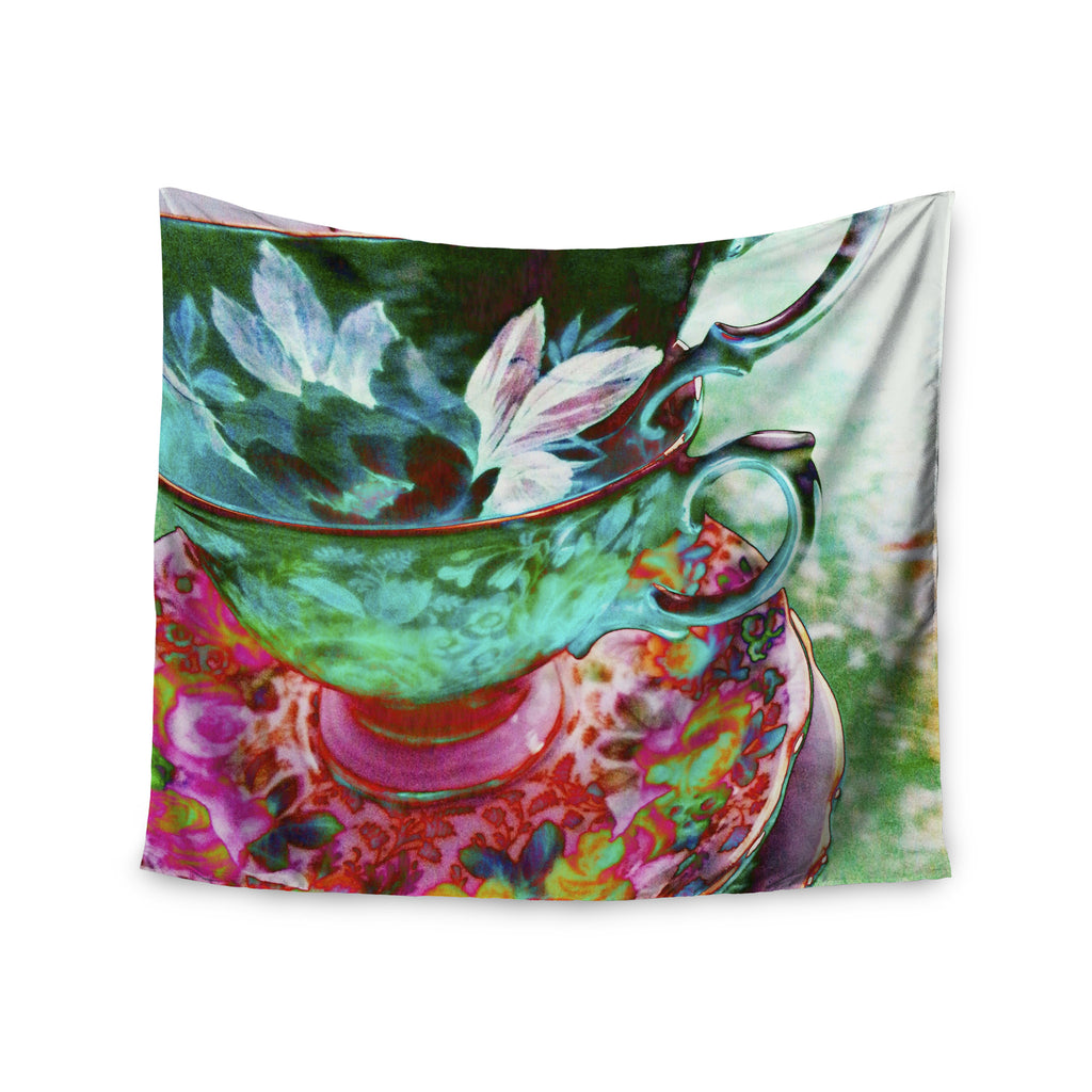 "alyZen Moonshadow ""Mad Hatters T-Party IV"" Green Pink Wall Tapestry - KESS InHouse  - 1"
