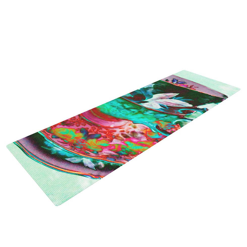 "alyZen Moonshadow ""Mad Hatters T-Party IV"" Green Pink Yoga Mat - KESS InHouse  - 1"