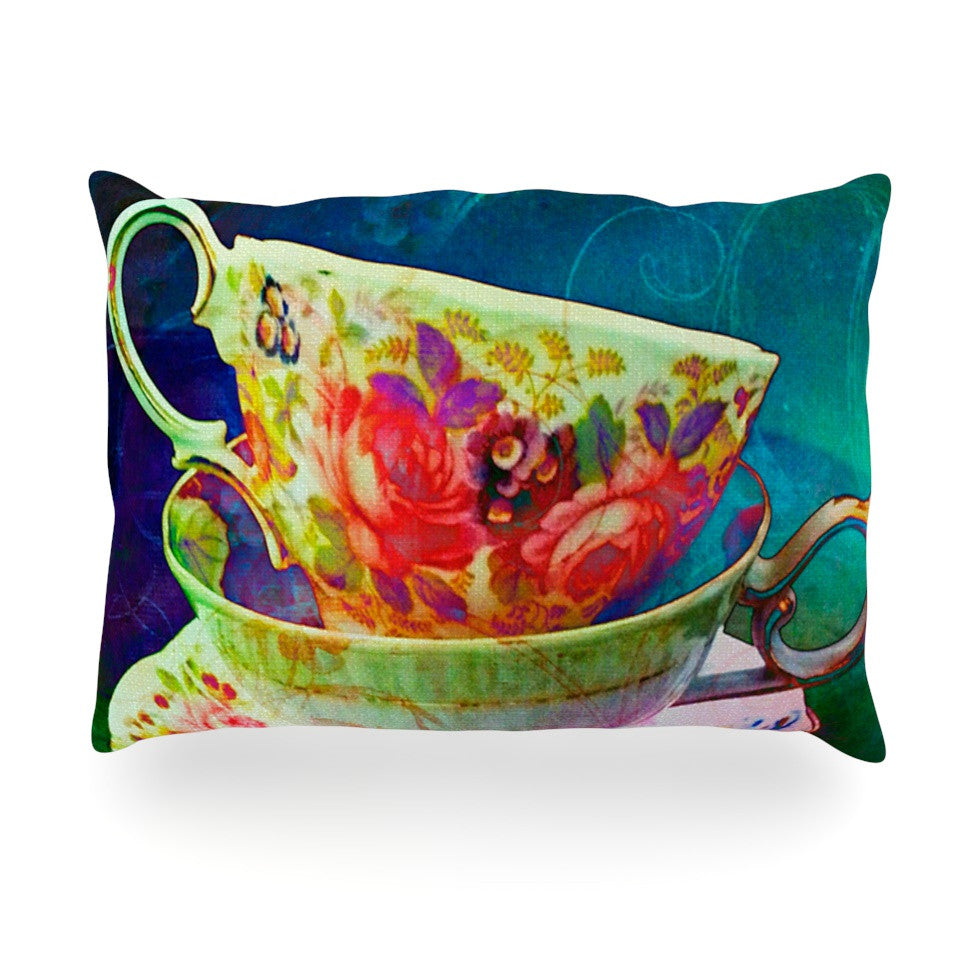 "alyZen Moonshadow ""Mad Hatters T-Party V"" Yellow Green Oblong Pillow - KESS InHouse"