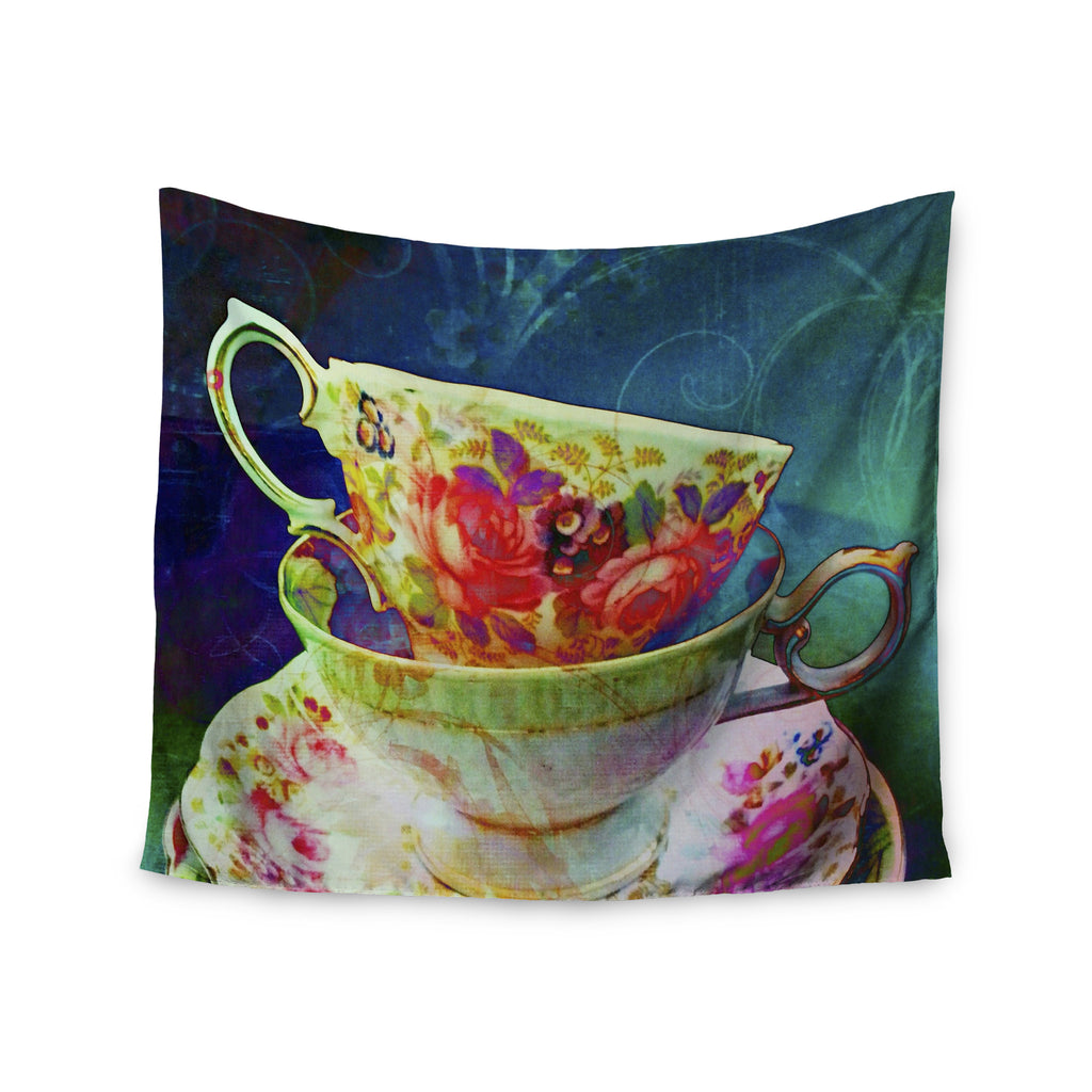 "alyZen Moonshadow ""Mad Hatters T-Party V"" Yellow Green Wall Tapestry - KESS InHouse  - 1"