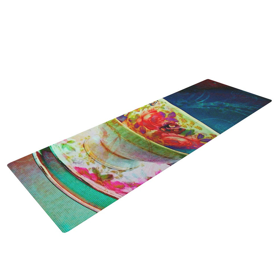 "alyZen Moonshadow ""Mad Hatters T-Party V"" Yellow Green Yoga Mat - KESS InHouse  - 1"