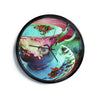 "AlyZen Moonshadow ""Mad Hatters T-Party VI"" Teal Pink Modern Wall Clock"