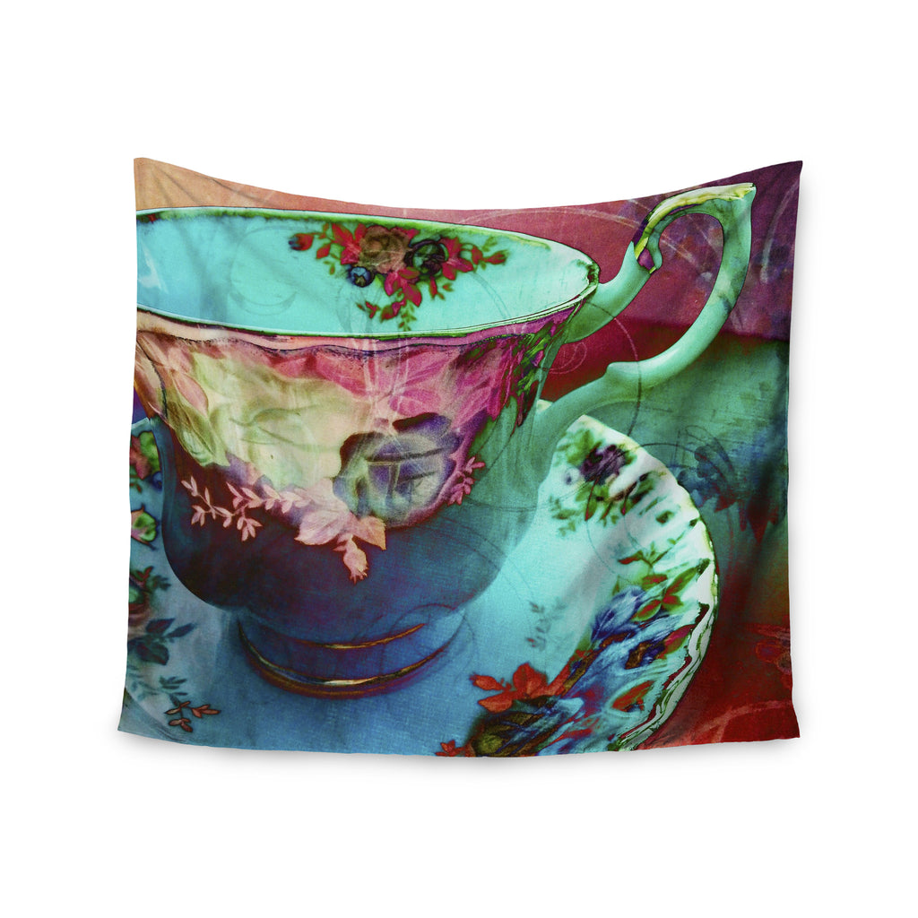 "alyZen Moonshadow ""Mad Hatters T-Party VI"" Teal Pink Wall Tapestry - KESS InHouse  - 1"