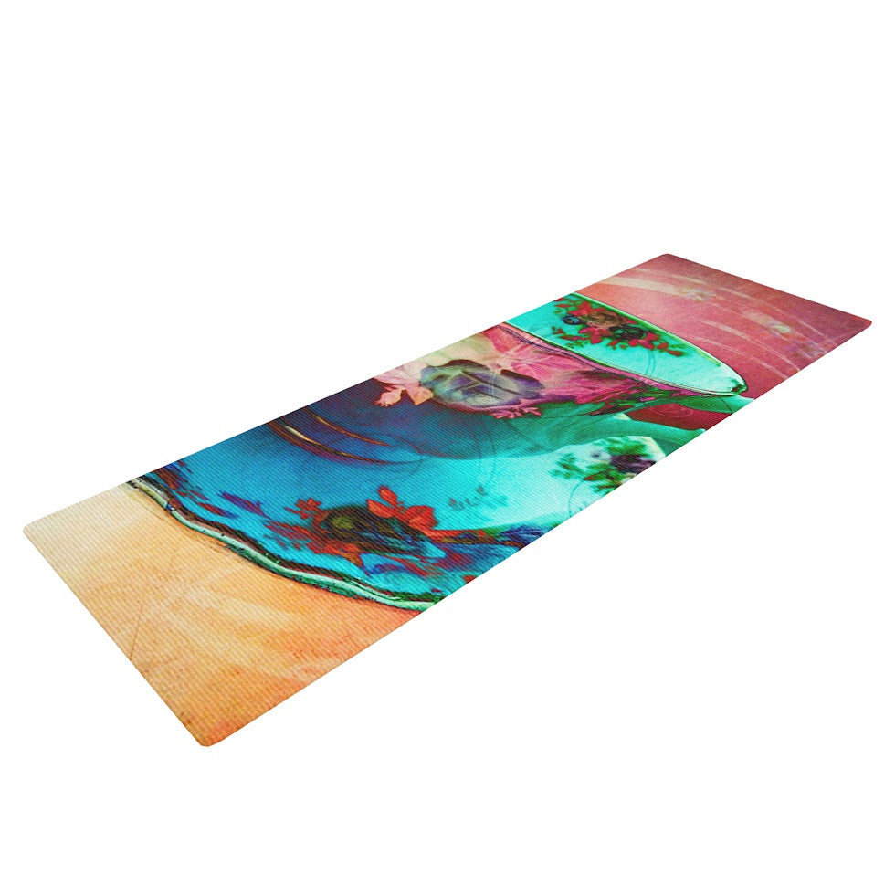 "alyZen Moonshadow ""Mad Hatters T-Party VI"" Teal Pink Yoga Mat - KESS InHouse  - 1"