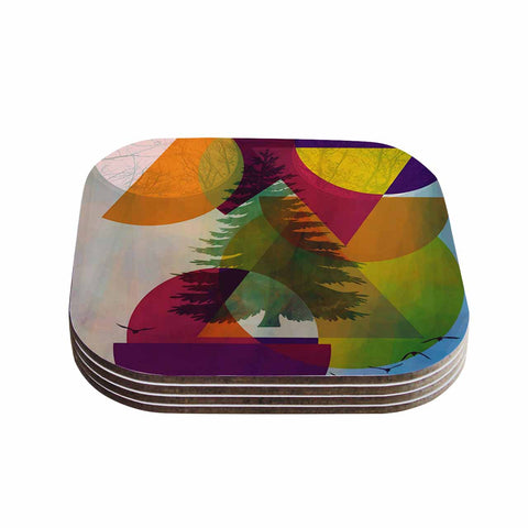 "alyZen Moonshadow ""HIDDEN FACE"" Multicolor Coasters (Set of 4) - Outlet Item"