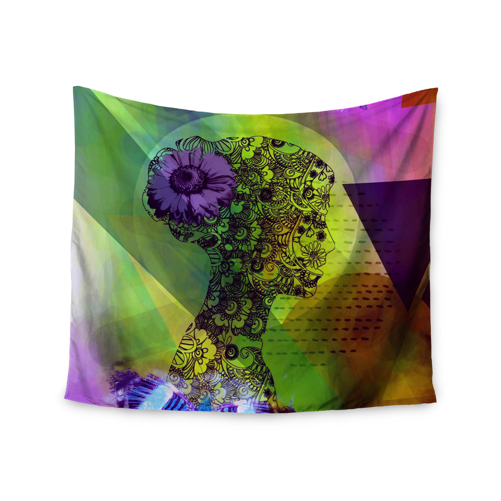 "alyZen Moonshadow ""SILHOUETTE (DARK)"" Green Purple Wall Tapestry - KESS InHouse  - 1"