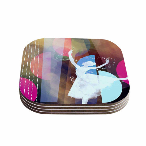"AlyZen Moonshadow ""PINK BALLET"" Multicolor Geometric Coasters (Set of 4) - Outlet Item"