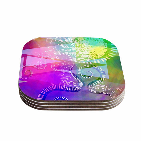 "AlyZen Moonshadow ""MUSICAL TENDRILS"" Purple Multicolor Coasters (Set of 4) - Outlet Item"