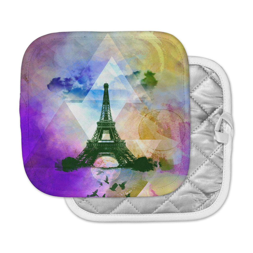 "AlyZen Moonshadow ""EIFFEL TOWER (PURPLE)"" Yellow Travel Pot Holder"