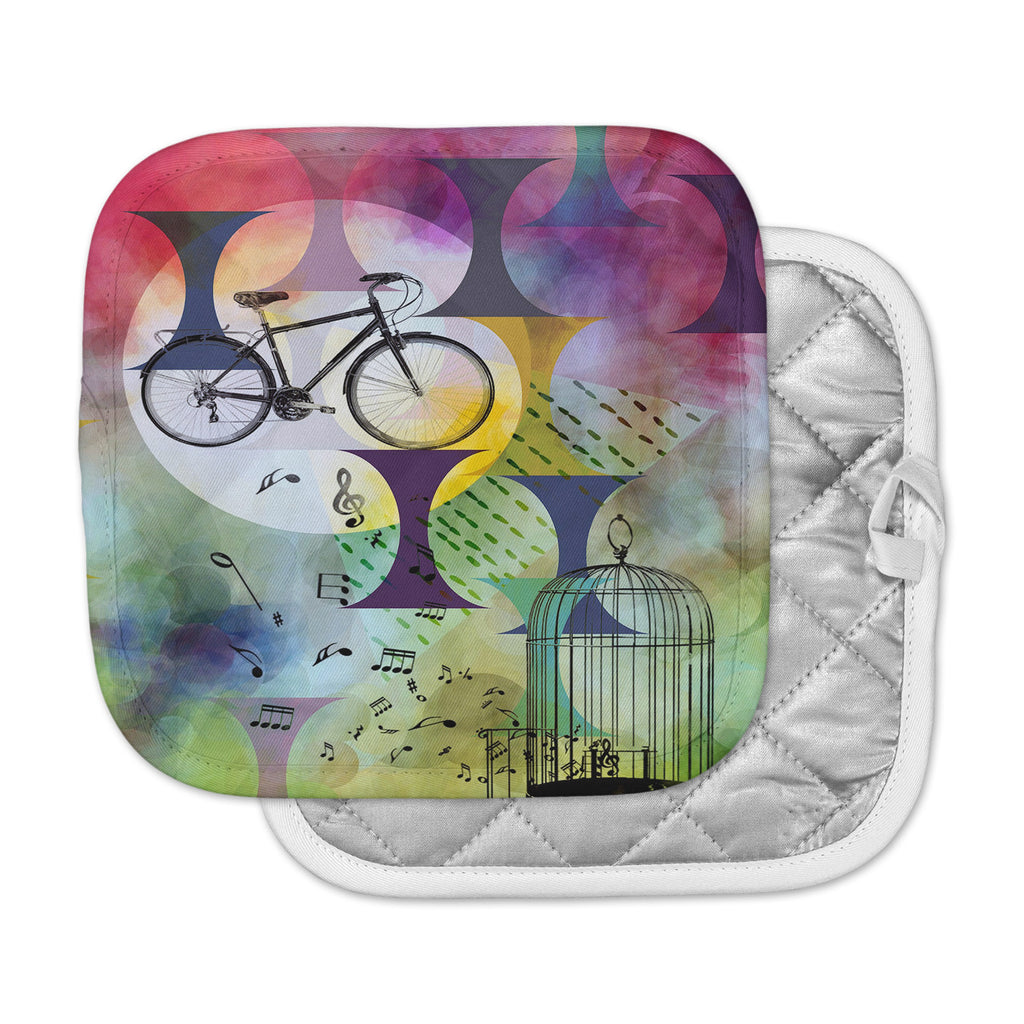 "AlyZen Moonshadow ""BIKE TO THE MOON"" Pink Green Pot Holder"