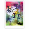 "AlyZen Moonshadow ""BIKE TO THE MOON"" Pink Green Fine Art Gallery Print - KESS InHouse"